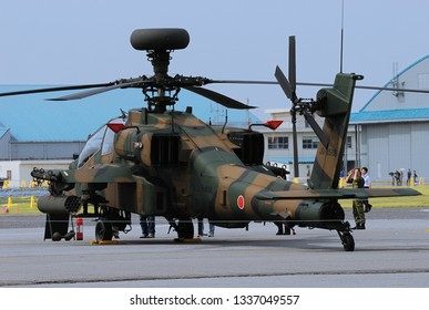 Chiba, Japan - June 06, 2010:Japan Ground Self Defense Force Boeing AH-64D Apache Longbow attack helicopter.