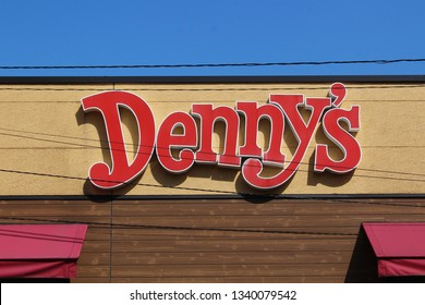 CHIBA, JAPAN - March 15, 2019: The sign on a Denny's restaurant in Chiba City.