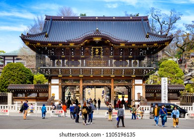 CHIBA JAPAN - MARCH 26, 2018 : Narita san Shinshoji temple, Popular tourists come here because it is an ancient temple with magnificent architecture. Have a fascinating history. (Gate)