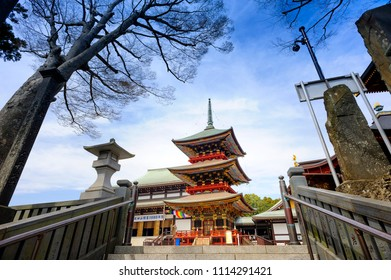 CHIBA JAPAN - MARCH 26, 2018 : Narita san Shinshoji temple, Popular tourists come here because it is an ancient temple with magnificent architecture, have a fascinating history. ( Red Pagoda )