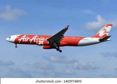 Chiba, Japan - May 18, 2019:AirAsia X Airbus A330-300 (HS-XTB) passenger plane.
