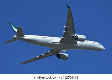 Chiba, Japan - May 18, 2019:Cathay Pacific Airbus A350-900 (B-LRU) passenger plane.