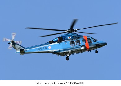 Chiba, Japan - May 18, 2019:Chiba Prefectural Police AgustaWestland AW139 (JA91CP) utility helicopter.