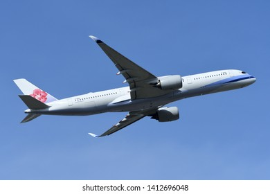 Chiba, Japan - May 18, 2019:China Airlines Airbus A350-900 (B-18916) passenger plane.