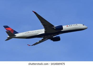 Chiba, Japan - May 18, 2019:Delta Air Lines Airbus A350-900 (N503DN) passenger plane.