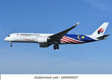 "Chiba, Japan - May 18, 2019:Malaysia Airlines Airbus A350-900 (9M-MAC) passenger plane. Special livery ""Negaraku"" scheme."