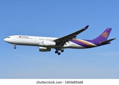 Chiba, Japan - May 18, 2019:Thai Airways Airbus A330-300 (HS-TBF) passenger plane.