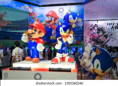Chiba, Japan - September 15, 2019 - A statue of Mario and Sonic at the Sega booth of the Tokyo Game Show 2019 at Makuhari Messe as an ad for the game Mario & Sonic at the Olympic Games Tokyo 2020