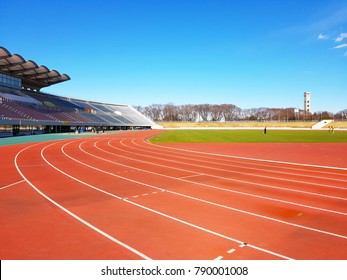 Chiba, JP - DECEMBER 27, 2017: Chiba Sport Stadium, the famous main stadium of Chiba Province for the running practice and the athletic competition.