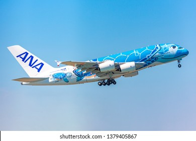 CHIBA,JAPAN - Apr 17,2019: ANA A380 FLYING HONU is flying.Sea turtle parent and child swimming to the blue sky, All Nippon Airways(NH/ANA) Airbus A380-841 JA381A