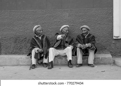 Chibuleo, Ecuador - JUNE 30, 2013: The three wisest elders of the Chibuleo community in Ecuador