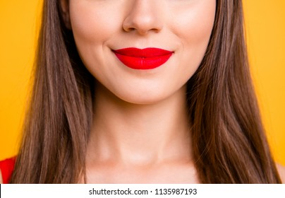 Chic charm pleasure lifestyle person concept. Cropped close up half faced view photo portrait of beautiful attractive sexual seductive tempting pretty ideal perfect color lipstick isolated background