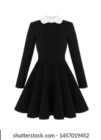 Chic feminine black classic short dress with white collar and long sleeves, mockup, front view, ghost mannequin, isolated on white background, clipping