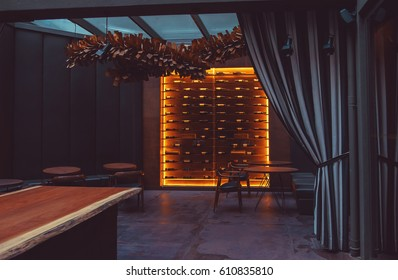 chic interior of  Porto restaurant with glass wall