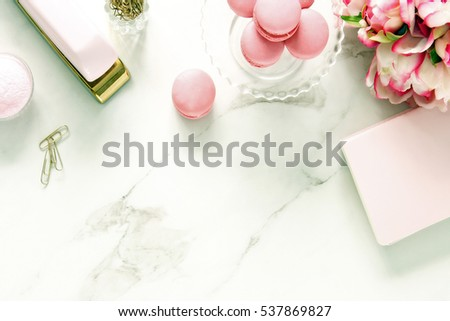 Chic Pink And White Desktop With Elegant Office Supplies With Room For Copy.