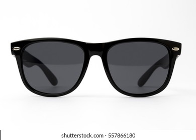 Chic sunglasses with black plastic frame isolated on white background, front view