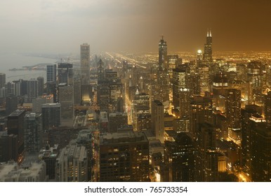 Chicago aerial downtown skyline sunset to night transition view from high above