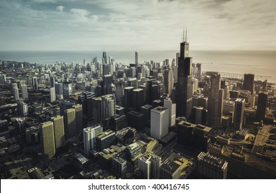 Chicago aerial view with downtown skyscrapers, vintage colors