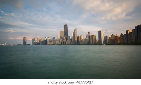 Chicago afternoon skyline from lake Michigan shore