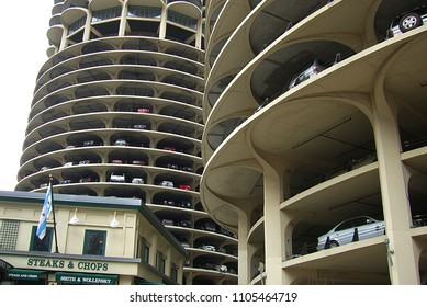 CHICAGO - APRIL 22: Famous Marina City parking garage on April 22, 2008 in Chicago, Illinois. The Marina City complex is near the Chicago River, was completed in 1964, and cost $36 million.