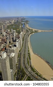 CHICAGO - APRIL 24: View of Chicago's Lake Shore Drive. The road was built in 1937 and is 25.48 km long. Chicago, Illinois April 24 2012.