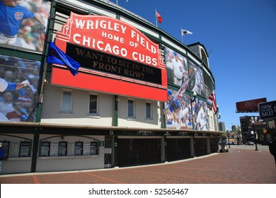 CHICAGO - APRIL 26: A colorful new look for classic Wrigley Field highlights the famous welcome sign on April 26, 2010 in Chicago, Illinois.