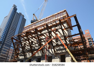 Chicago - August 13: construction of 150 North Riverside in Chicago, USA, on August 13, 2015. The lower floors of the skyscraper will cantilever out on the structural frame.