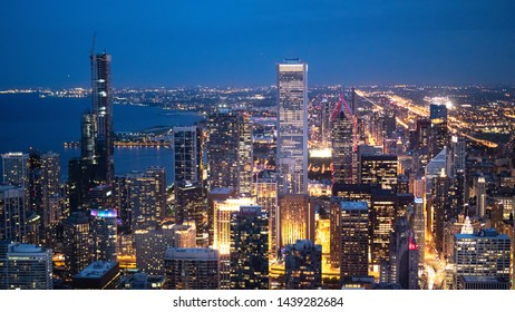 Chicago by night - amazing aerial view over the skyscrapers - CHICAGO, ILLINOIS - JUNE 12, 2019
