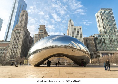 CHICAGO - CIRCA JANUARY 2018: Cloud Gate mirror sculpture in Millenium Park