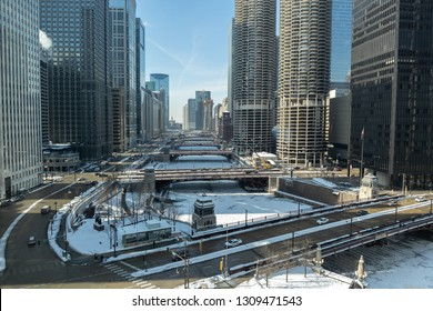CHICAGO - CIRCA JANUARY 2019: Downtown river and buildings skyline