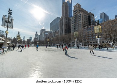 CHICAGO - CIRCA JANUARY 2019: Skate rink in winter