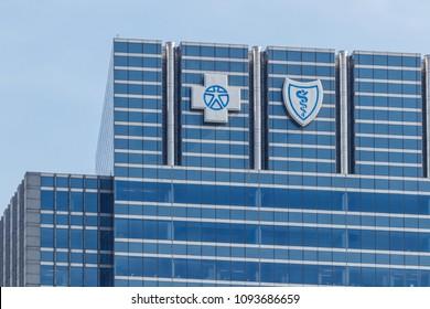 Chicago - Circa May 2018: Blue Cross Blue Shield headquarters signage and logo. Blue Cross Blue Shield is a federation of health insurance organizations I