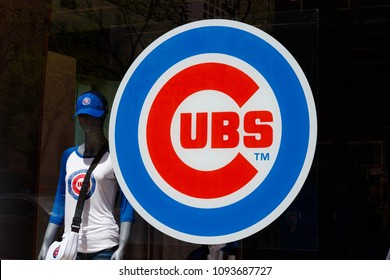 Chicago - Circa May 2018: Chicago Cubs logo at the team store on the Miracle Mile. The Cubs won their first World Series after a 108 year drought I