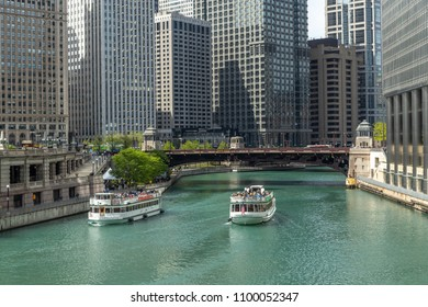 CHICAGO - CIRCA MAY 2018: Downtown river buildings skyline