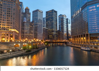 CHICAGO - CIRCA MAY 2018: Downtown skyline buildings evening