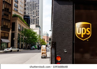 Chicago - Circa May 2018: United Parcel Service Delivery Truck. UPS is the World's Largest Package Delivery Company I