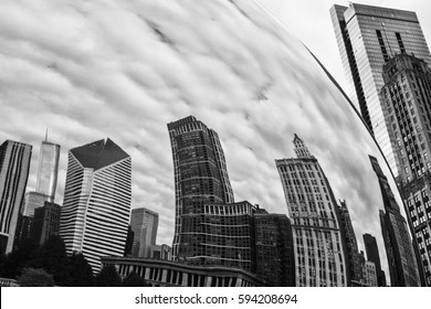 Chicago - Circa October 2009: Cloud Gate, also known as the Bean, in Millennium Park on a Cloudy Day I