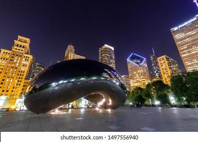 CHICAGO - CIRCA SEPTEMBER 2019: Cloud Gate the bean sculpture in Millennium Park at night
