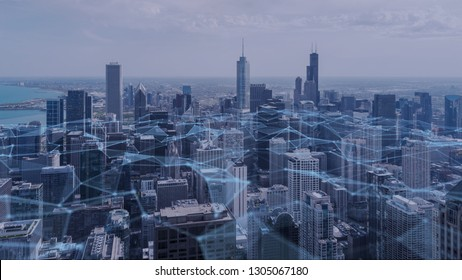 Chicago city with connection polygonal line Futuristic digital technology concept