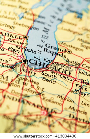 Chicago City Map On Atlas World Stock Photo Edit Now 413034430