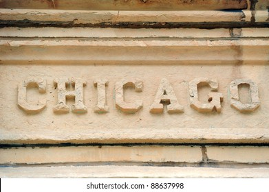 Chicago city name on old building