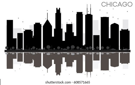 Chicago City skyline black and white silhouette with reflections. Simple flat concept for tourism presentation, banner, placard or web site. Cityscape with landmarks.