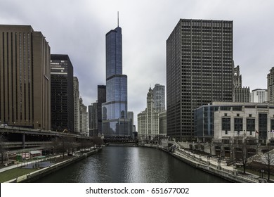 Chicago city skyline with clouds