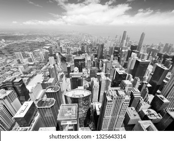 Chicago. City skyline with Lake Michigan. Fish eye lens view. Black and white vintage style.