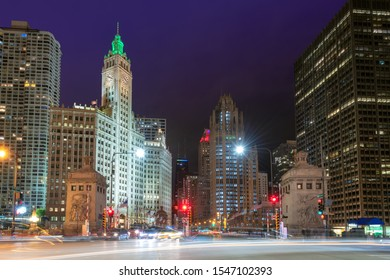 Chicago City skyline at night, Michigan Avenue, Chicago, Illinois, USA.