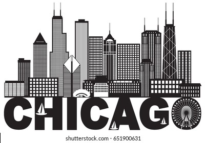 Chicago City Skyline Panorama Black Outline Silhouette with Text Isolated on White Background raster Illustration