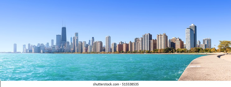 Chicago city skyline, panoramic morning view over Lake Michigan, USA.