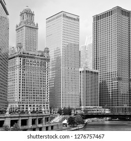 Chicago city skyline with skyscrapers. Black and white vintage style.