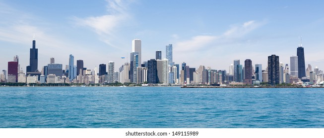 Chicago city summertime skyline by the lake