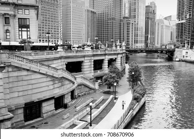 Chicago city view with river. Black and white vintage style.